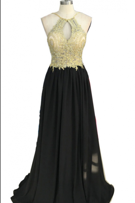 Gold Lace Appliqued Black Chiffon Prom Dresses,Halter Long Formal Dress