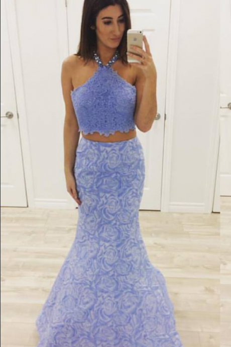 Lavender Lace Prom Dress,2 Pieces Prom Dress,Mermaid Formal Dress,Pageant Dress