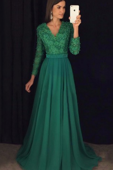 Beautiful A-line V-neck Chiffon Sweep Train Appliques Lace Long Sleeve Prom Dresses