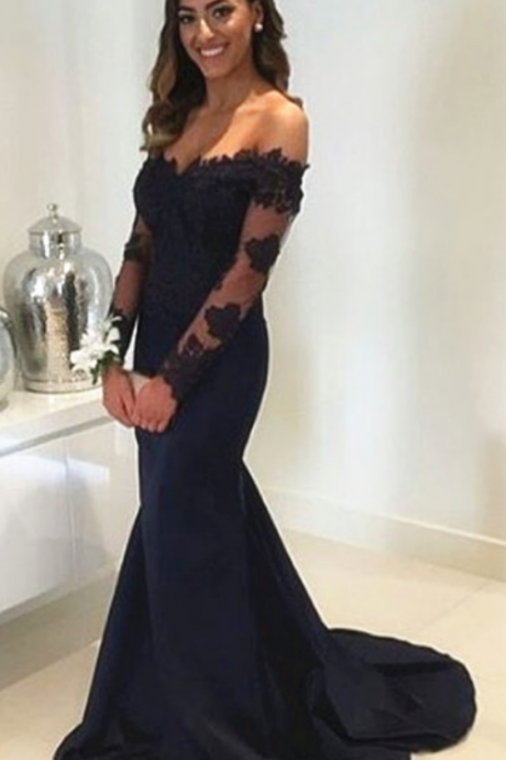 Navy Blue Off Shoulder Mermaid Prom Dress Formal Gowns Long Lace Sleeves