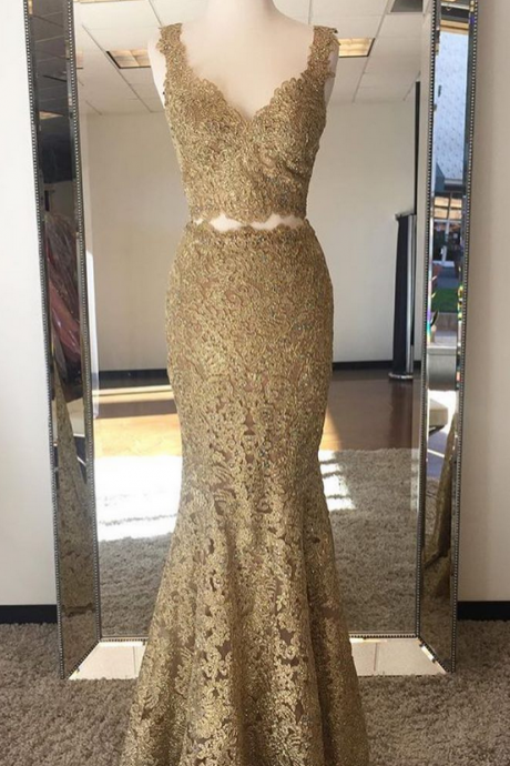 Gold Lace Two Piece Mermaid Prom Evening Dresses Long