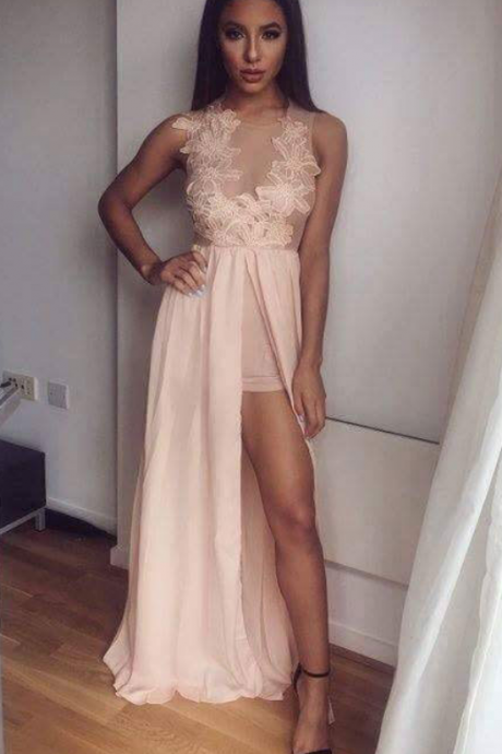 Chiffon and Lace Long Prom Dress with Front Slit