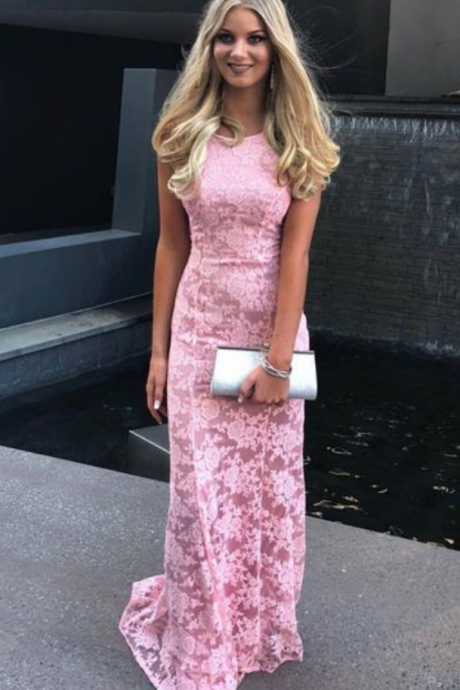 pink lace long prom dress, gorgeous mermaid pink lace long prom dress formal dress wedding reception dress