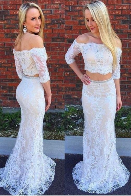 Off the Shoulder Ivory Lace Two Piece Mermaid Prom Dresses with Half Sleeves