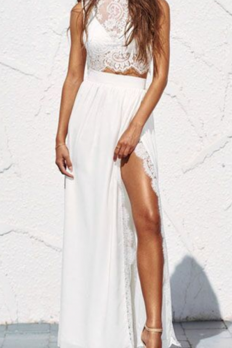 High Fashion Two-Piece Prom Dress, Split-Front White Party Dress, Lace Long Prom Dress