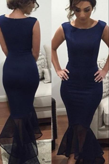 Simple Mermaid Prom Dress, Navy Blue Sleeveless Party Dress, Stian Long Evening Dress