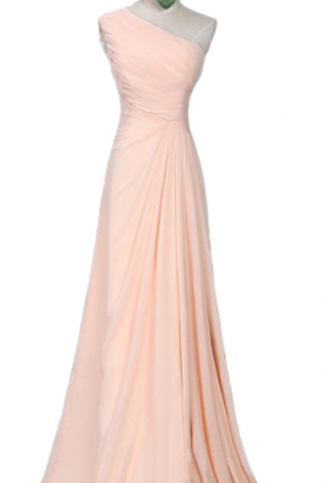 One Shoulder Simple Design Elegant Bridesmaid Dress,Blush Pink Sleeveless Chiffon Bridesmaid Dress