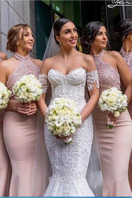 Dust Pink Mermaid Satin Bridesmaid Dresses High Neck Lace Bodice Sleeveless Bridesmaid Gowns Prom Dresses