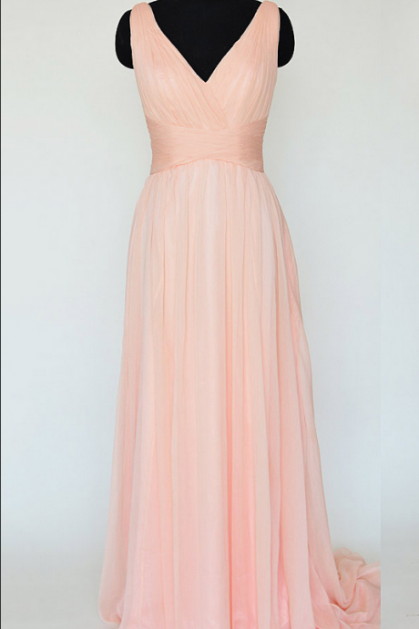 Pink Long Chiffon Bridesmaid Dresses, V-neck Bridesmaid Gowns, Sexy Backless Bridesmaid Dresses with Soft Pleats