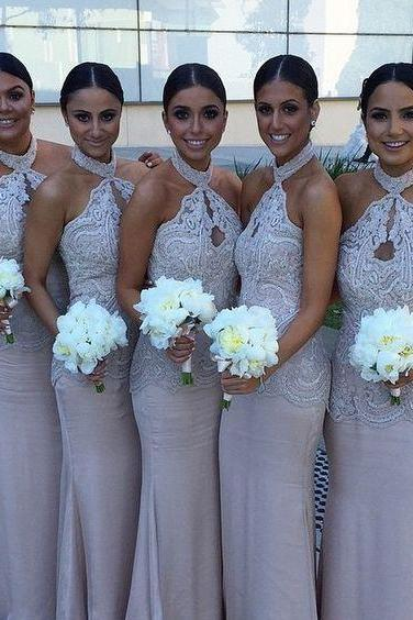 Halter Lace bridesmaid dress, Chiffon bridesmaid dress, cheap bridesmaid dress,bridesmaid dresses