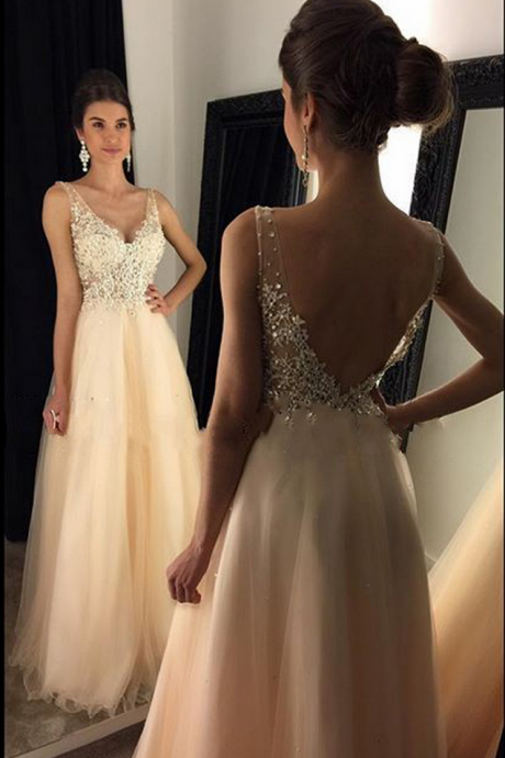 Sparkly V Neck Prom Dress,Sexy Backless Evening Dress,Tulle Long Prom Gown