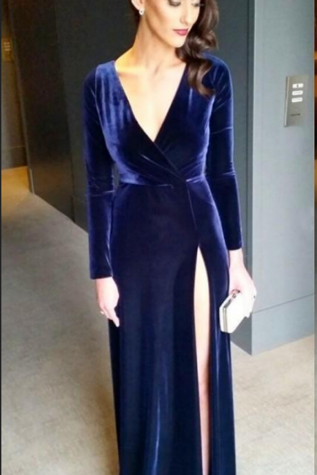 Long Sleeves Royal Blue Velvet Prom Dresses High Thigh Split Long Evening Dress Plunging Neckline Women Party Gowns party dress Custom Made