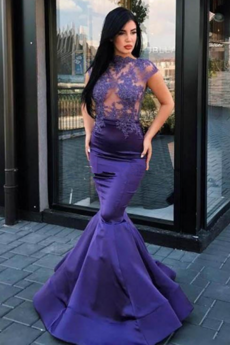 Sexy Purple Illusion Bodice Prom Dresses High Neck Appliques Open Back Mermaid Sweep Train Sexy Party Evening Gowns Cheap Custom