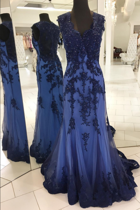 Appliques Blue Prom Dress, Long Prom Dress, Beaed Mermaid Evening Dress, Formal Gown
