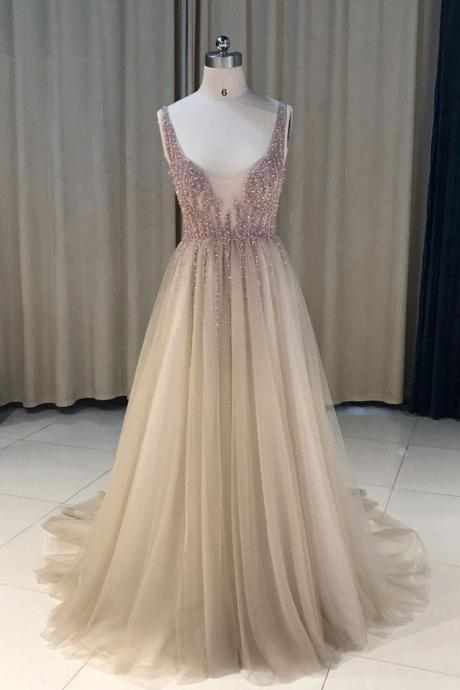 Sexy Beading Long Prom Dress, Sparkly Beaded Tulle Evening Dress