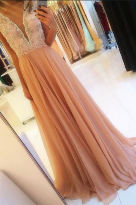 Charming Appliques Prom Dress, Sexy V Neck Chiffon Evening Dress with Beaded, Sleeveless Long Prom Dresses