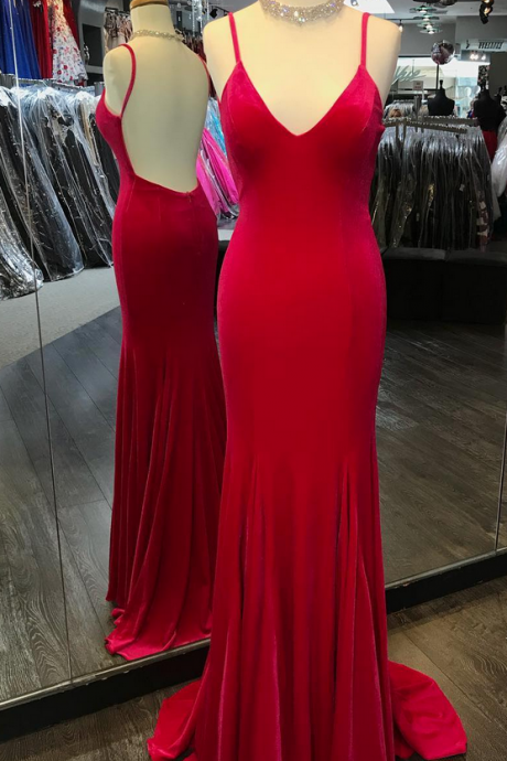 Sexy Red Spaghetti Straps Evening Dress, Backless Long Prom Dress, Prom Dresses