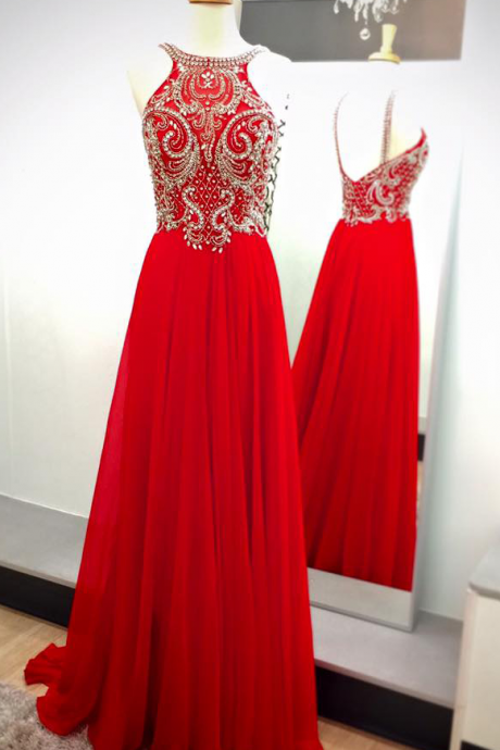 Charming Prom Dress,Elegant Prom Dress,Crystal Beaded Evening Dress,Red Homecoming Dress, Long Formal Dress