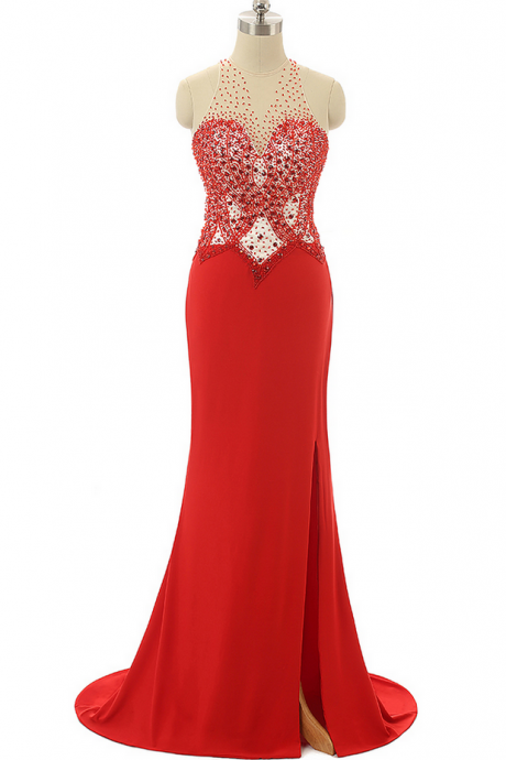 Red Prom Dresses,Beading Prom Dresses,Mermaid Evening Dresses ,Formal Party Gowns,