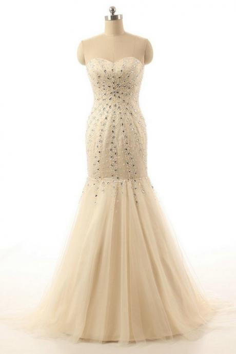 Champagne Strapless Sweetheart Beaded Mermaid Long Prom Dress, Evening Dress