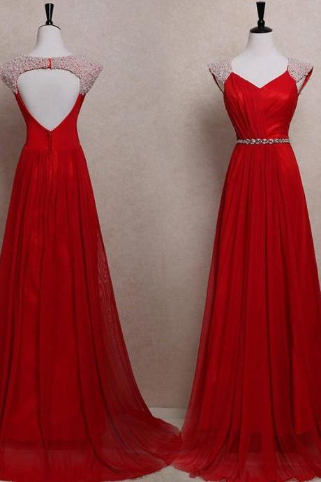 Dark Red Prom Dresses,Chiffon Prom Dresses,Long Beaded Evening Dresses,Sexy Formal Party Gowns,Women Evening Dresses,Long A-line Prom Dresses,Prom Dresses Plus Size,Prom Dresses Open Back,