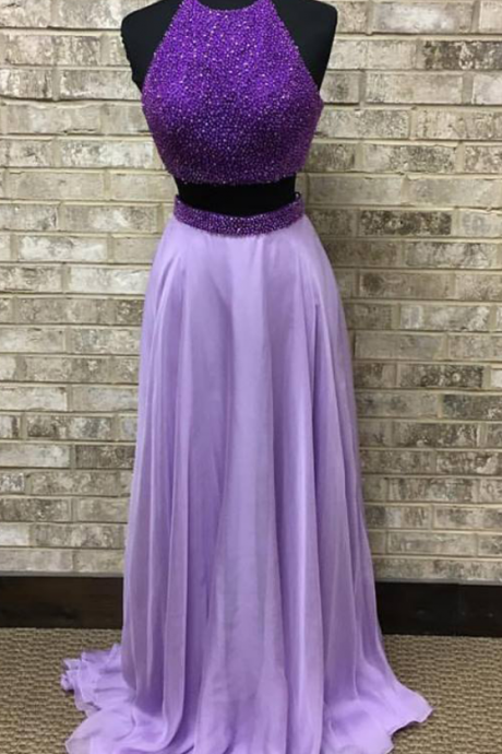 Purple Beaded 2 Pieces Prom Dress,Light Purple Chiffon Prom Gown,Two Pieces Formal Dress,