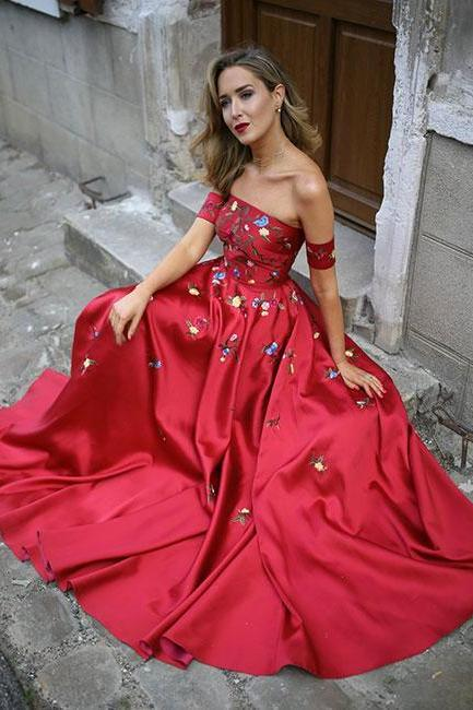 Red embroidery satin long prom dress,strapless red evening dress,