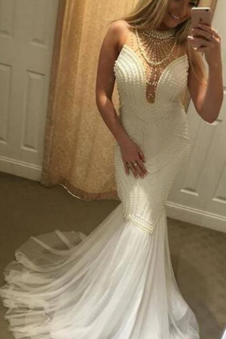 Luxury Bling Sparkle Prom Dress Evening Dress Mermaid White with Pearls Long Prom Dresses Evening Dresses Formal Dress,