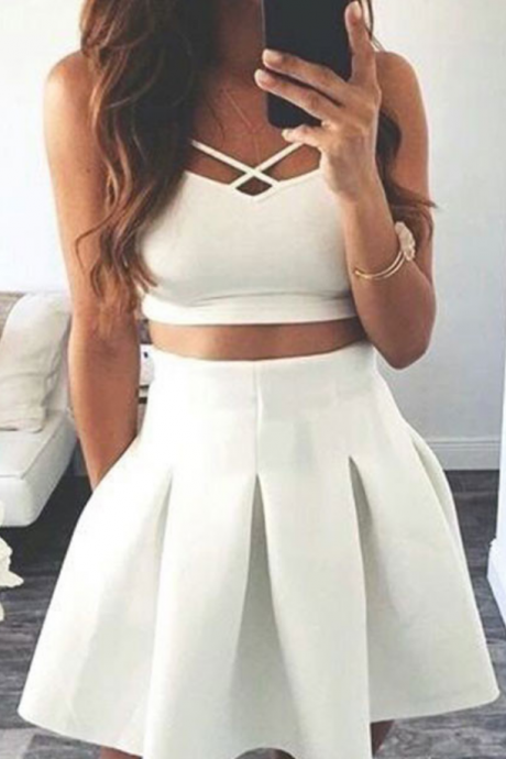 Custom Made White Two-Piece A-Line Satin Short Evening Dress, Homecoming Dresses, Cocktail Dress, Graduation Dress