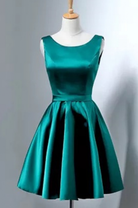 Custom Made Bateau Neckline Satin Short Evening Dress, Homecoming Dresses, Cocktail Dress, Graduation Dress