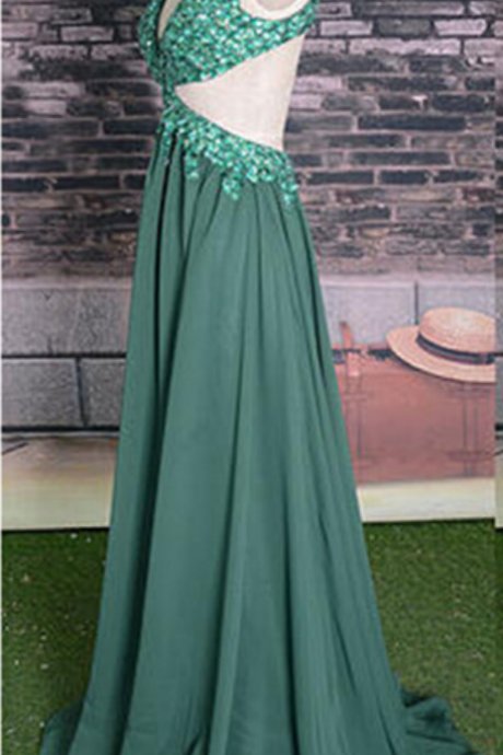 Backless ack Prom Dress, beaded geeen p[rom dress ,chiffon prom dress ,Straps Prom Gown,Sparkly ,Elegant Sparkle Evening Gowns,Green Evening Gowns,Sexy Prom Dress