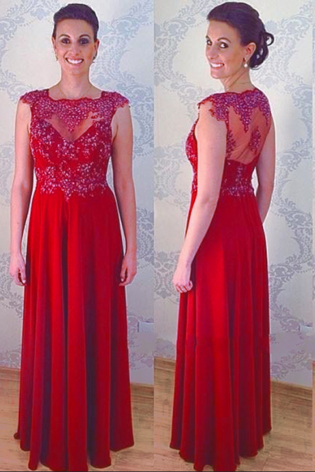 Red Chiffon Prom Dresses Featuring Sheer Neck And See Through Back Long Elegant Evening Gowns