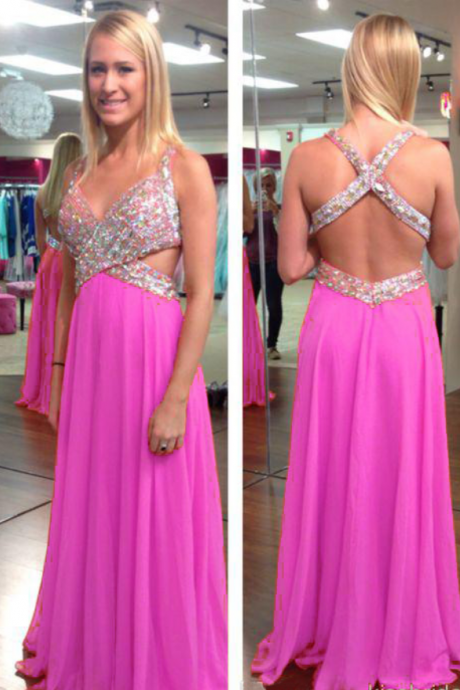 Sexy Pink Beaded Evening Dresses Long Elegant Backless Chiffon Prom Dress V Neck Formal Gowns