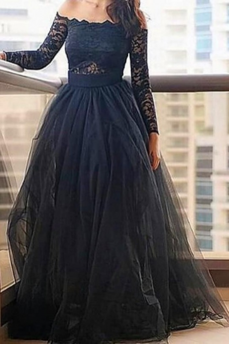 Black Lace Long Sleeves Prom Dresses vestidos A line Evening Party Gown Long Formal Dress Off Shoulder Elegant