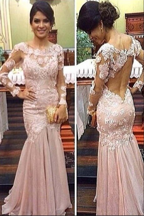 Flower Applique Prom Dress,Pink Lace Prom Dresses,Evening Dress