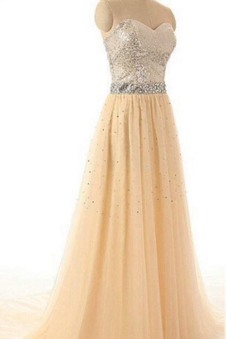 Long prom dress, champagne prom dress, sweet heart dress, charming prom dress, sequin prom dress, popular prom dress,