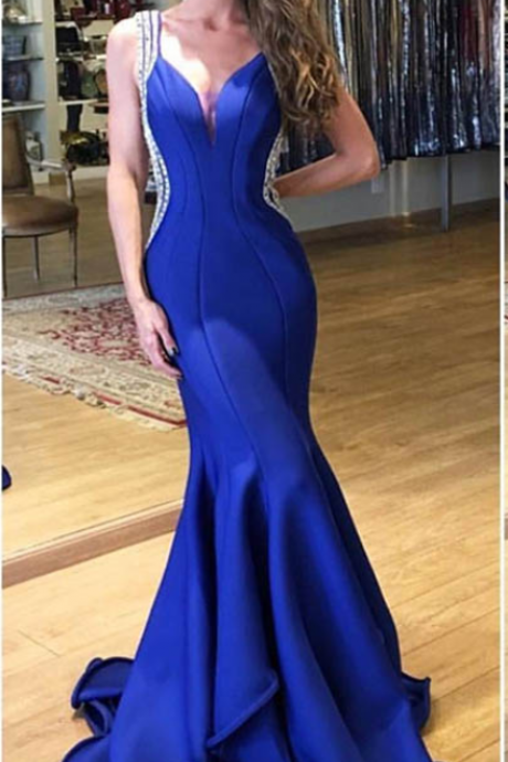Royal Blue Evening Dress, Beaded Evening Dress, Mermaid Evening Dress, V Neck Evening Dress, Elegant Evening Dress
