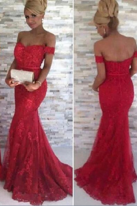 Off Shoulder Evening Dress, Red Evening Dress, Mermaid Evening Dress, Elegant Evening Dress, Lace Applique Evening Dress,