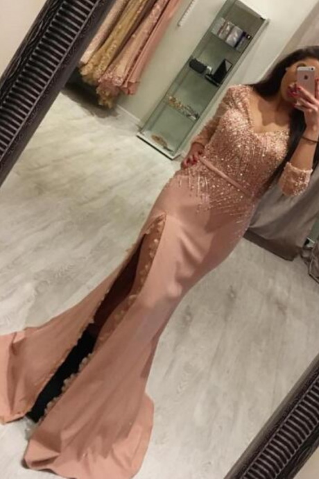 Dusty Pink Evening Dress, Beaded Evening Dress, Mermaid Evening Dress, Long Sleeve Evening Dress, Sexy Evening Dress, Women Formal Dress, V Neck Evening Dress