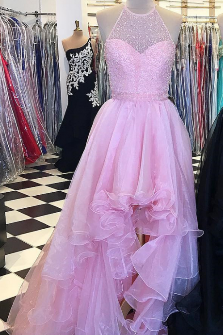 Pink Prom Dress, High Low Prom Dress, Beaded Prom Dress, Halter Prom Dress, Organza Prom Dress, A Line Prom Dress, Prom Ball Gown, Elegant Prom Dress, Black Prom Dress, Sexy Formal Dress,
