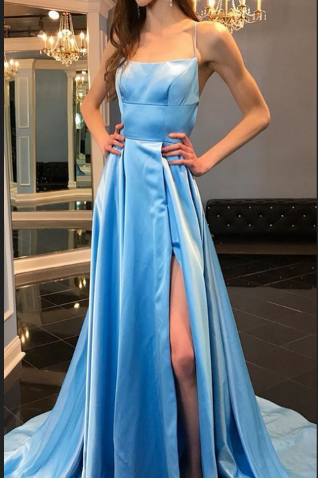 gorgeous blue long prom dress, prom dress, straps blue long prom dress with side slit, party dress
