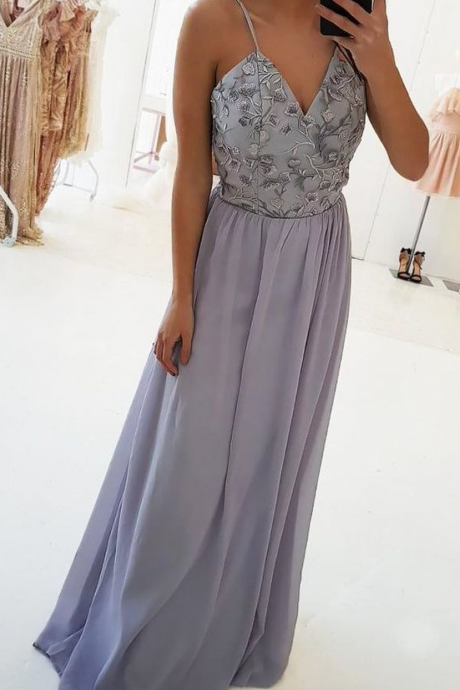 A-Line Spaghetti Straps Floor-Length Lilac Stretch Satin Prom Dress with Lace