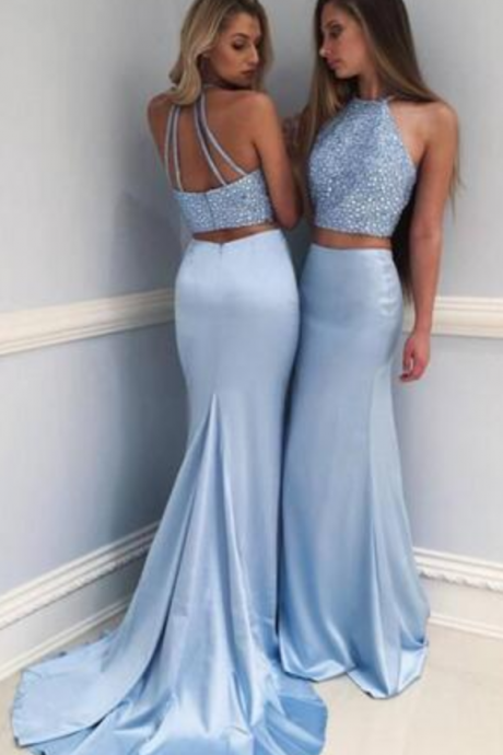 Two Piece Mermaid Light Blue Prom Dresses Sequined Chinese Halter Satin Formal Evening Party Gowns vestidos de fiesta