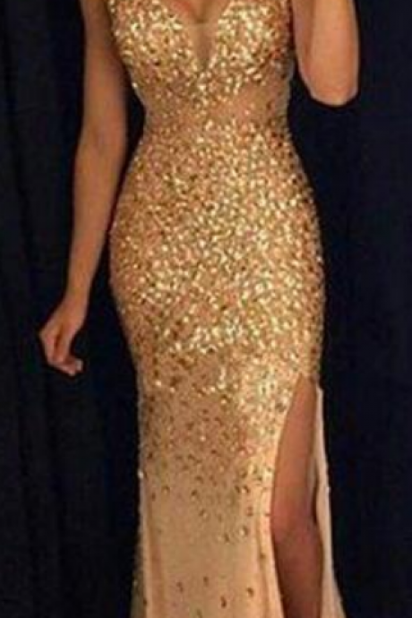 Sexy Beading Prom Dress,Tulle PromDress,unique rhinestones tulle gold prom dress, mermaid evening dress