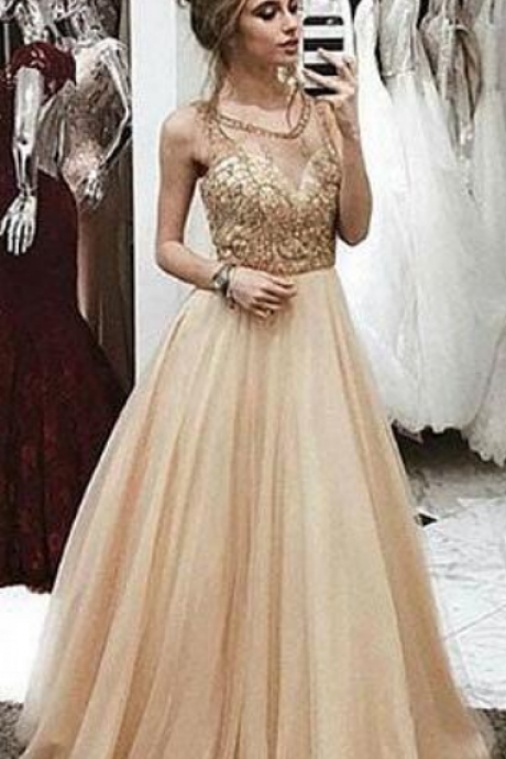 a63b2815b4aa5 Champagne Prom Dress,Sexy round neck Prom Dress,Tulle Prom Dress 2018,  beaded