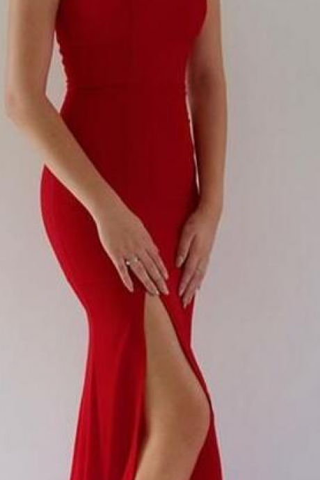 mermaid red long prom dress with side slit,simple prom dress, elegant strapless prom dress, 2018 long bridesmaid dress, evening dress prom dress