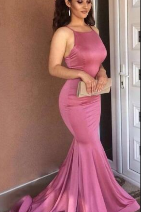 Scoop Neck Trumpet/Mermaid Sweep Train Prom Dress,Silk-like Satin Prom Dress,Sexy Prom Dress,Ruched Prom Dresses