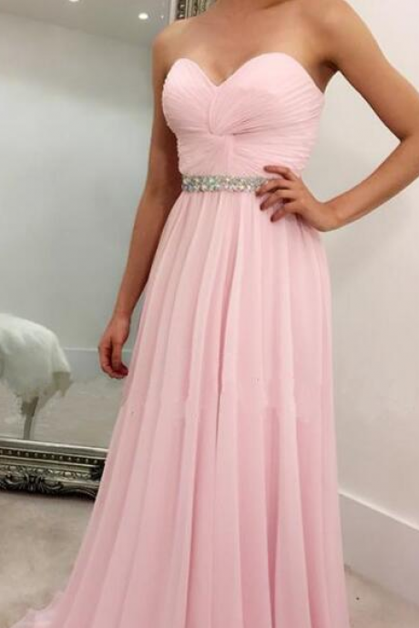 Simple Prom Dress,light pink pleated Prom Dress,Cheap Prom Dress,Cheap Prom Dress,sweetheart long Prom Dresses,chiffon prom evening dresses ,elegant Prom Dress
