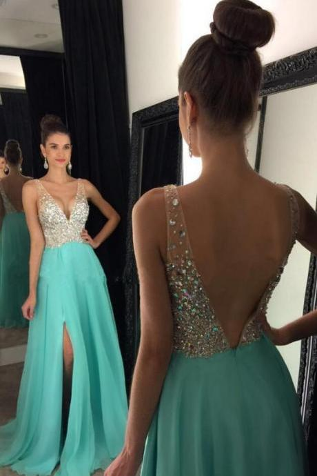 Modest Prom Dress,chiffon Prom Dress,Beading Prom Dress,Sexy Prom Dress,Cheap Prom Dress,sparkly crystal beaded v neck Prom Dress,open back long chiffon prom dresses,pageant evening gowns with leg slit