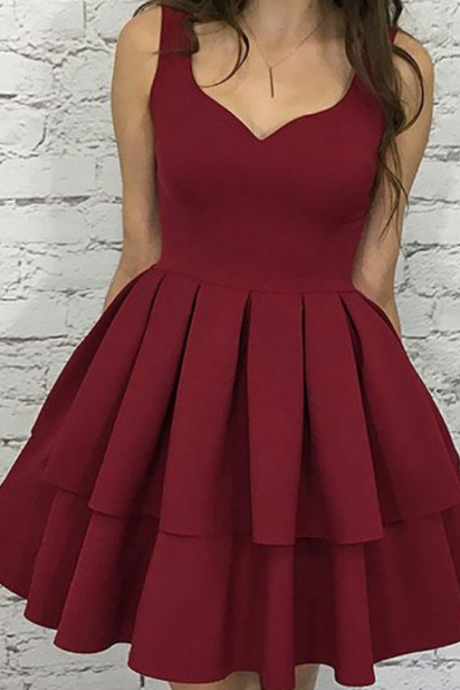 Cute homecoming dress,burgundy homecoming dress,short prom dress,burgundy evening dress